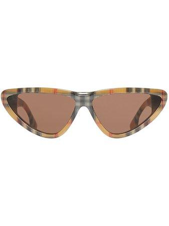 Burberry Vintage Check Triangular Frame Sunglasses | Farfetch.com