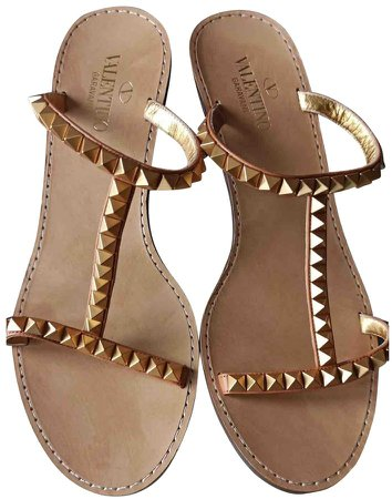Rockstud Gold Leather Sandals