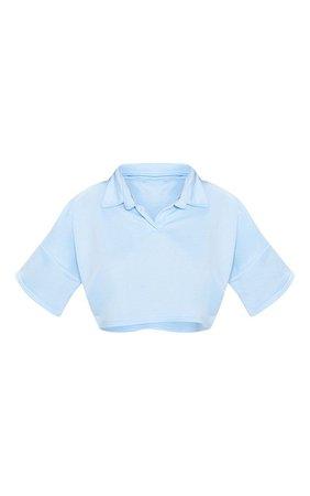 BABY BLUE COLLAR POLO SHORT SLEEVE CROP TOP