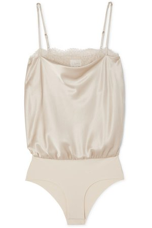 Cami NYC | The Romy lace-trimmed stretch-silk charmeuse and jersey bodysuit | NET-A-PORTER.COM