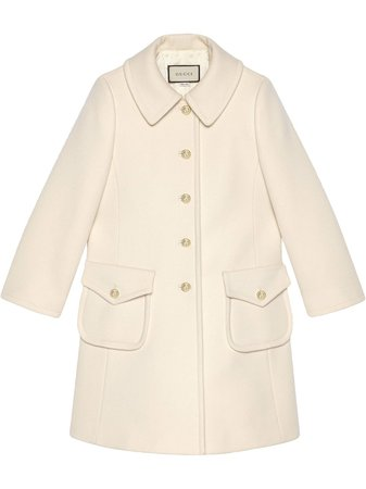 Shop white Gucci single-breasted midi coat with Express Delivery - Farfetch