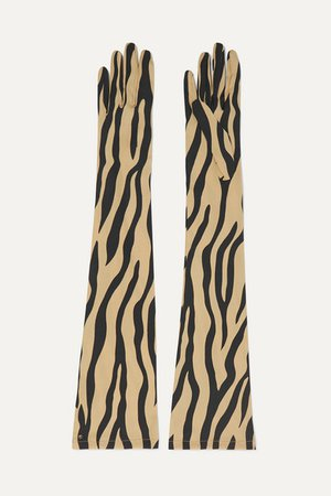 Gucci | Zebra-print stretch-silk twill gloves | NET-A-PORTER.COM