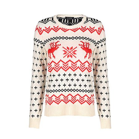 Soluo Women's Christmas Ugly Sweater Crewneck Reindeer Knitted Pullover Xmas Holiday Snowflake Jumper at Amazon Women's Clothing store