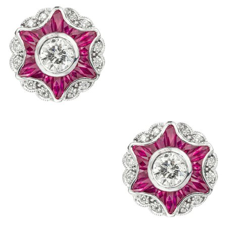 Diamond and Ruby Cluster Star Earrings
