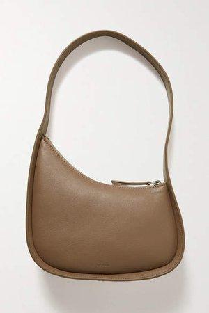 Half Moon Leather Shoulder Bag - Brown