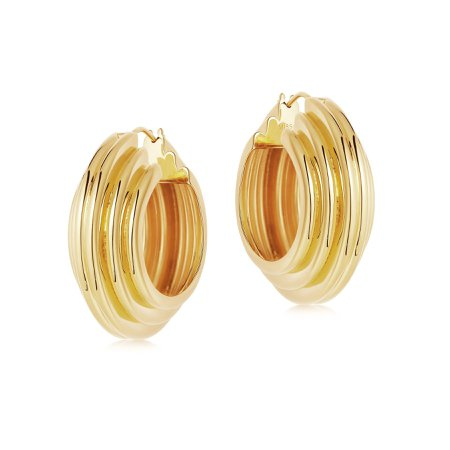 Lucy Williams Gold Large Chunky Ridge Hoops | 18ct Gold Plated | Missoma | Missoma Limited