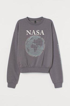 Cotton-blend Sweatshirt - Gray