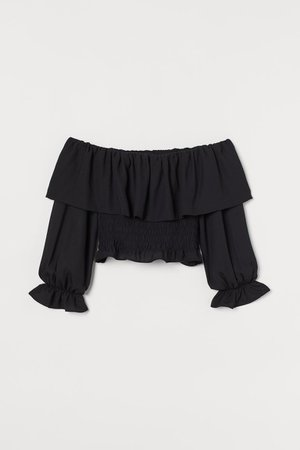 Cropped Off shoulder Top - Black - Ladies | H&M US