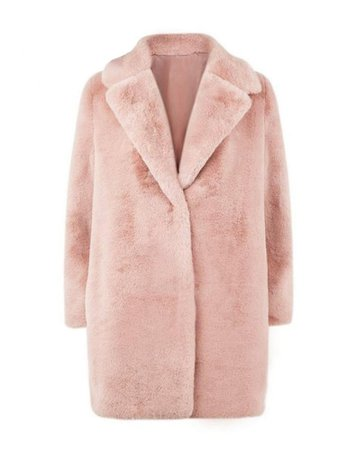 Fleece Fuzzy Pink Faux Fur Shawl Collar Long Sleeve Pockets Teddy Bear Coats