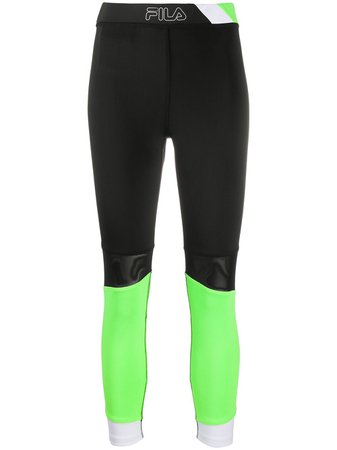 Shop black & green Fila panelled leggings with Express Delivery - Farfetch