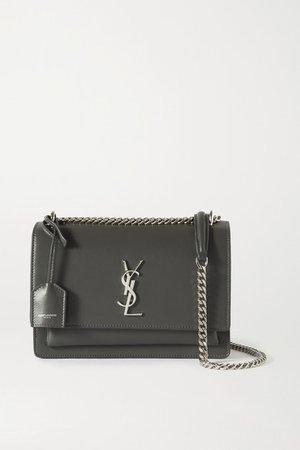 Sunset Medium Leather Shoulder Bag - Dark gray