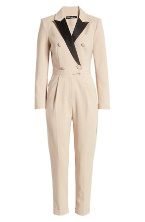 Lavish Alice Contrast Collar Long Sleeve Tuxedo Jumpsuit   cream
