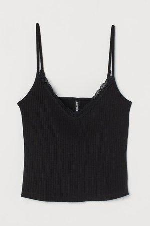 Ribbed Tank Top - Black - Ladies   H&M US
