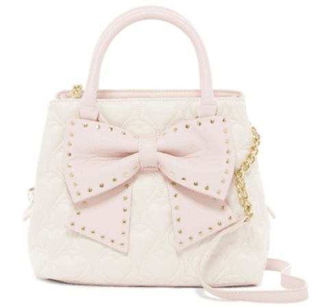 Betsey Johnson Hopefully Romantic Medium White Blush Bucket Tote Handbag 3 ent   eBay