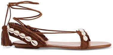 Honolulu Shell-embellished Suede Sandals - Brown