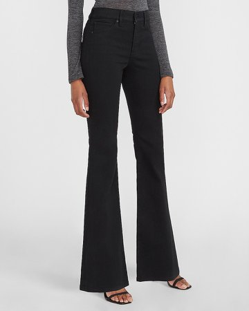 Mid Rise Black Flare Jeans