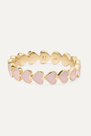 Gold Heart Stack 14-karat gold and enamel ring | Alison Lou | NET-A-PORTER