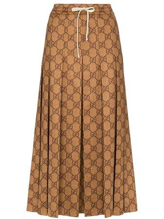 Gucci GG Logo Print Midi Skirt - Farfetch