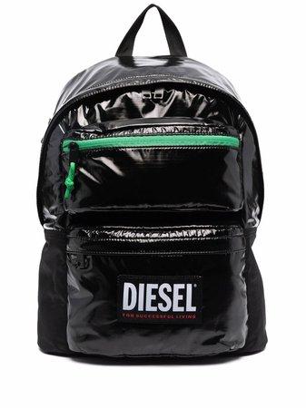 Diesel logo-print glossy backpack - FARFETCH