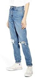 High Waist Ripped Knee Jeans