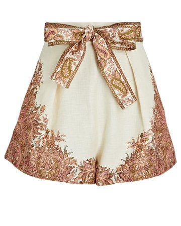 Zimmermann Brighton Paisley Tie-Waist Shorts   INTERMIX®