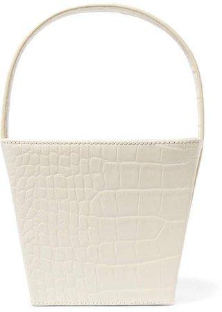 STAUD - Edie Croc-effect Leather Tote - White
