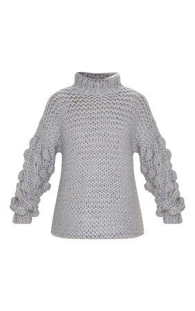 Grey Chunky Knit Bobble Sleeve Oversized Jumper   PrettyLittleThing