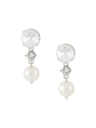Miu Miu, crystal and pearl drop earrings