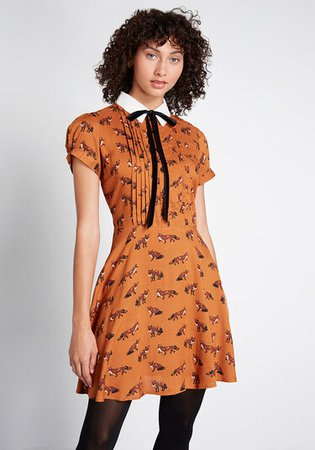 Hell Bunny Surprise Party A-Line Dress Brown Fox Print | ModCloth