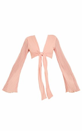 Pink Woven Plisse Flared Long Sleeve Tie Front Cropped Blouse - Jeans & A Nice Top - Shop By.. | PrettyLittleThing