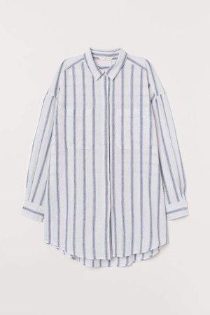 Long Linen-blend Shirt - Blue