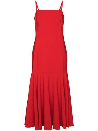 Red Carolina Herrera mid-length flared dress P2011N510SFR - Farfetch