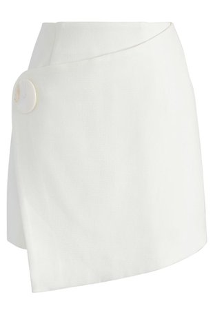 A Chic Finish Flap Skirt in White - Retro, Indie and Unique Fashion