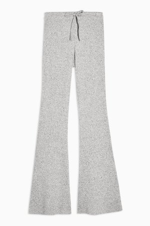 Grey Tie Ribbed Marl Flare Trousers | Topshop