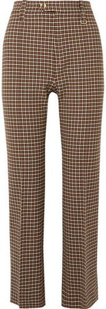 Cropped Checked Woven Straight-leg Pants - Brown