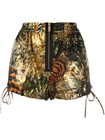 Dsquared2 Tropical Print Lamé Shorts S72MU0351S52793 Gold | Farfetch