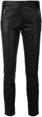 faux-leather zip detail trousers