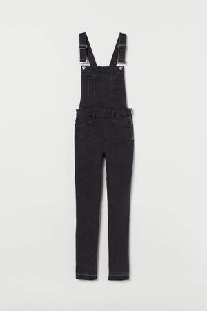 Denim Bib Overalls - Black
