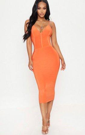 Shape Orange Slinky Panelled Midi Dress | PrettyLittleThing