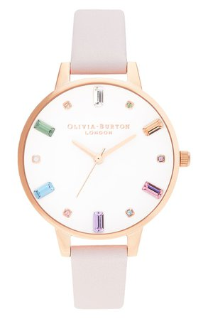 Olivia Burton Rainbow Stone Leather Strap Watch, 34mm | Nordstrom