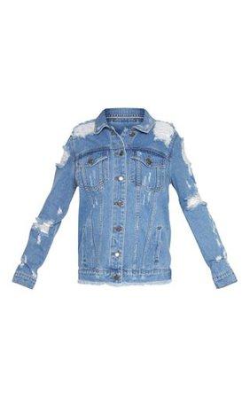 Petite Mid Blue Distressed Denim Jacket. Petite   PrettyLittleThing