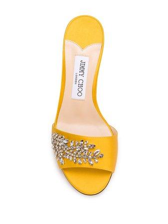 Jimmy Choo Stacey 85mm crystal-embellished Sandals - Farfetch