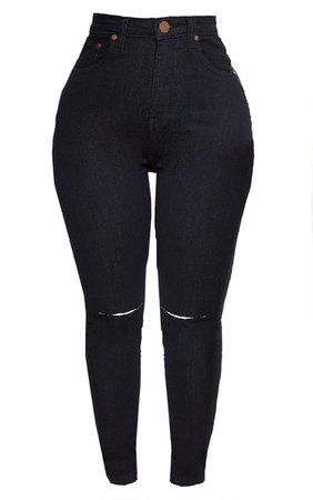 Shape Black Knee Rip Boyfriend Jean | Curve | PrettyLittleThing