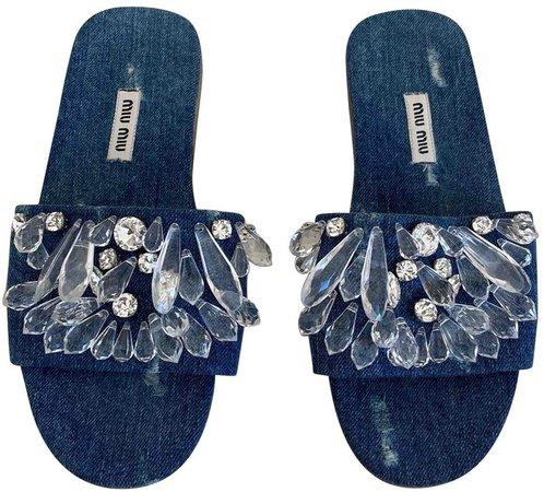 Blue Cloth Sandals