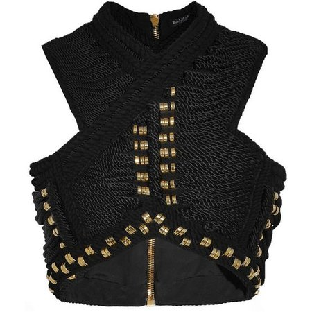 Balmain Cropped embellished cord and woven top