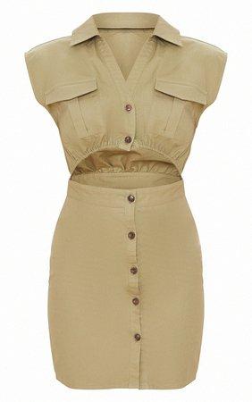 Khaki Cut Out Sleeveless Utility Bodycon Dress   PrettyLittleThing USA