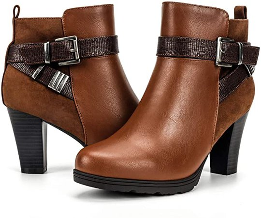 Amazon.com | mysoft Women's Zipper Bootie Chunky Stacked Heel Ankle Boots Buckle Strap Ankle BRW004-9 Brown | Ankle & Bootie
