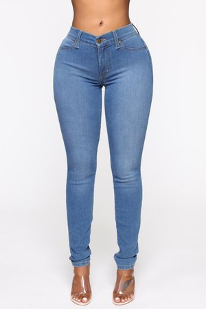Flex Game Strong Mid Rise Skinny Jeans - Medium Blue Wash – Fashion Nova
