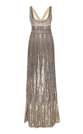 Platinum Column Gown by Cucculelli Shaheen | Moda Operandi
