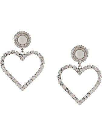 Alessandra Rich crystal-embellished heart drop earrings